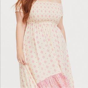 Torrid Dresses - NWOT Pink and Tan Print Challis Dress
